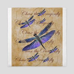 Purple Dragonfly Collage Queen Duvet