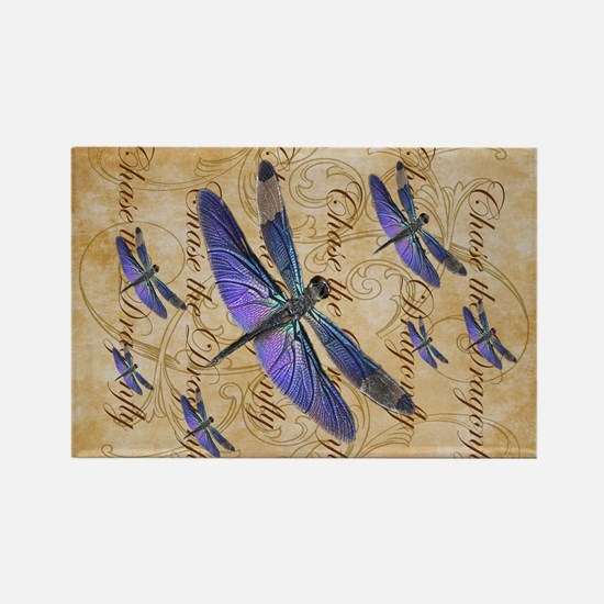 Purple Dragonfly Collage Magnets