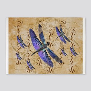 Purple Dragonfly Collage 5'x7'Area Rug