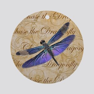 Purple Dragonfly Collage Round Ornament