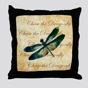 Green & Pink Dragonfly Collage Throw Pillow