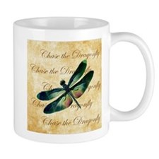 Green & Pink Dragonfly Collage Mugs