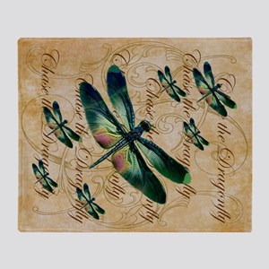 Green & Pink Dragonfly Collage Throw Blanket