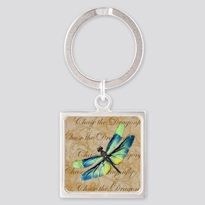 Blue & Green Dragonfly Collage Keychains