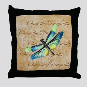 Blue & Green Dragonfly Collage Throw Pillow