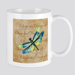 Blue & Green Dragonfly Collage Mugs