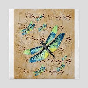 Blue & Green Dragonfly Collage Queen Duvet