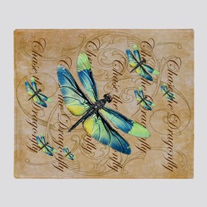 Blue & Green Dragonfly Collage Throw Blanket