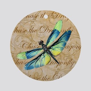 Blue & Green Dragonfly Collage Round Ornament