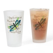 Blue & Green Dragonfly Collage Drinking Glass