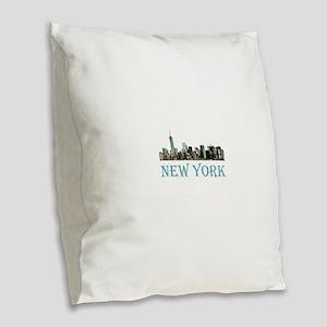 New York City Burlap Throw Pillow