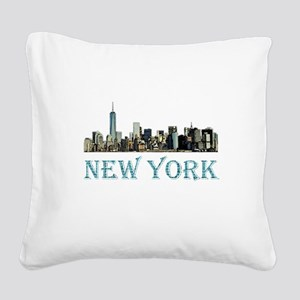 New York City Square Canvas Pillow