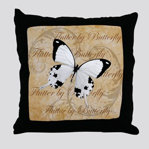 White Butterfly Collage Throw Pillow