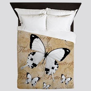 White Butterfly Collage Queen Duvet