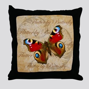 Red Butterfly Collage Throw Pillow