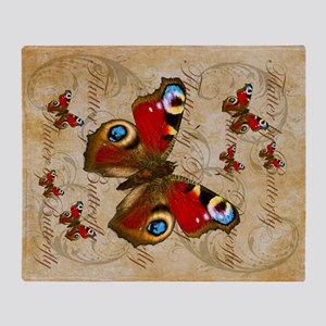 Red Butterfly Collage Throw Blanket