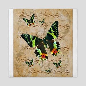 Green & Orange Butterfly Collage Queen Duvet