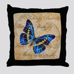 Blue Butterfly Collage Throw Pillow