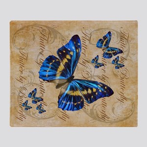 Blue Butterfly Collage Throw Blanket