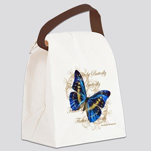 Blue Butterfly Collage Canvas Lunch Bag