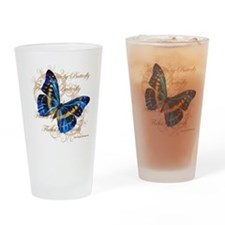 Blue Butterfly Collage Drinking Glass
