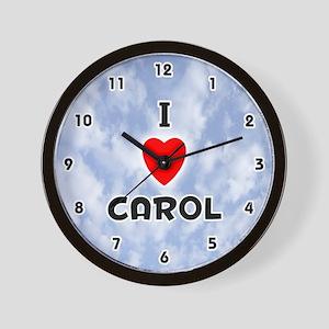 I Love Carol (Black) Valentine Wall Clock