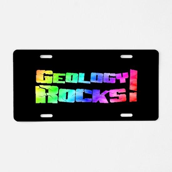 geologyRocksRainbowOST.png Aluminum License Plate