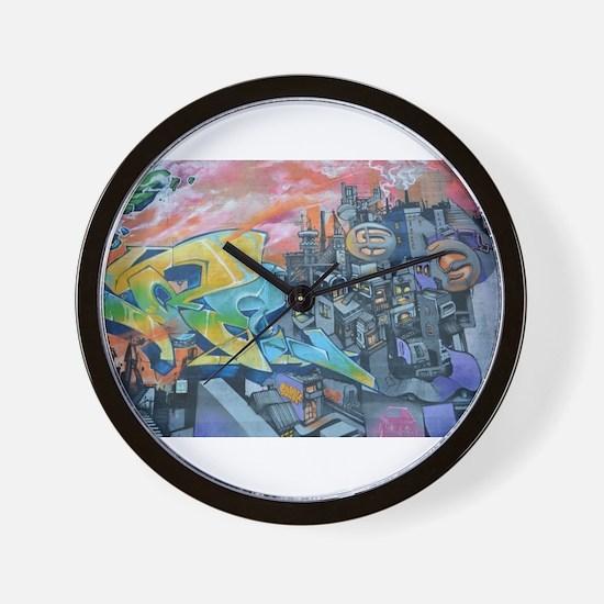 Graffiti City Scape Wall Clock