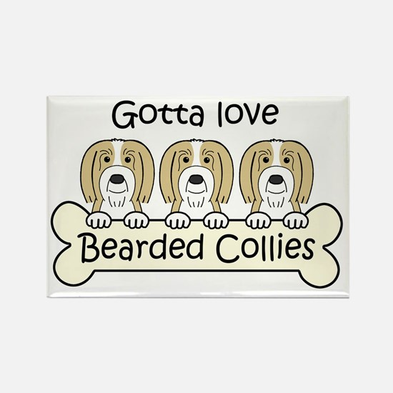 Cute Bearded collies Rectangle Magnet