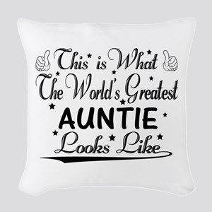 World's Greatest Auntie... Woven Throw Pillow