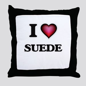 I love Suede Throw Pillow