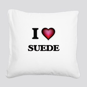 I love Suede Square Canvas Pillow