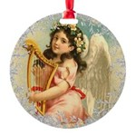 Vintage Victorian Christmas Angel with Harp Orname