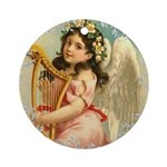 Vintage Victorian Christmas Angel with Harp Round