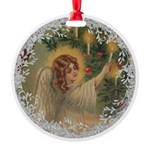 Vintage Victorian Christmas Angel with Candle Orna