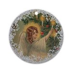 Vintage Victorian Christmas Angel with Candle Roun