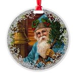 Vintage Victorian Father Christmas in Blue Ornamen