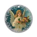 Vintage Victorian Christmas Angel with Toys Round