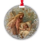 Vintage Victorian Christmas Angel and Child Orname