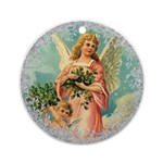 Vintage Victorian Christmas Angels Round Ornament