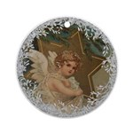 Vintage Victorian Christmas Angel with Star Round