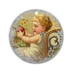 Vintage Victorian Christmas Baby Round Ornament