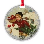 Vintage Victorian Christmas Boy with Apples Orname