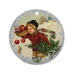 Vintage Victorian Christmas Boy with Apples Round