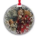 Vintage Victorian Father Christmas and Angel Ornam