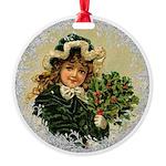 Vintage Victorian Christmas Girl in Green Velvet O