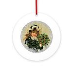 Vintage Victorian Christmas Girl in Green Velvet R