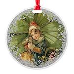 Vintage Victorian Christmas Shamrock Girl Ornament