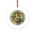 Vintage Victorian Christmas Shamrock Girl Round Or