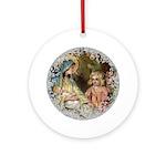 Vintage Victorian Nativity Round Ornament